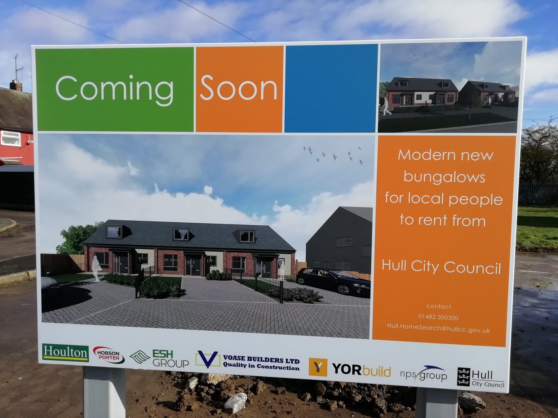 A board saying modern housing will soon be available to rent by the people of Hull
