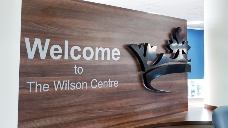 A sign for the Wilson Centre