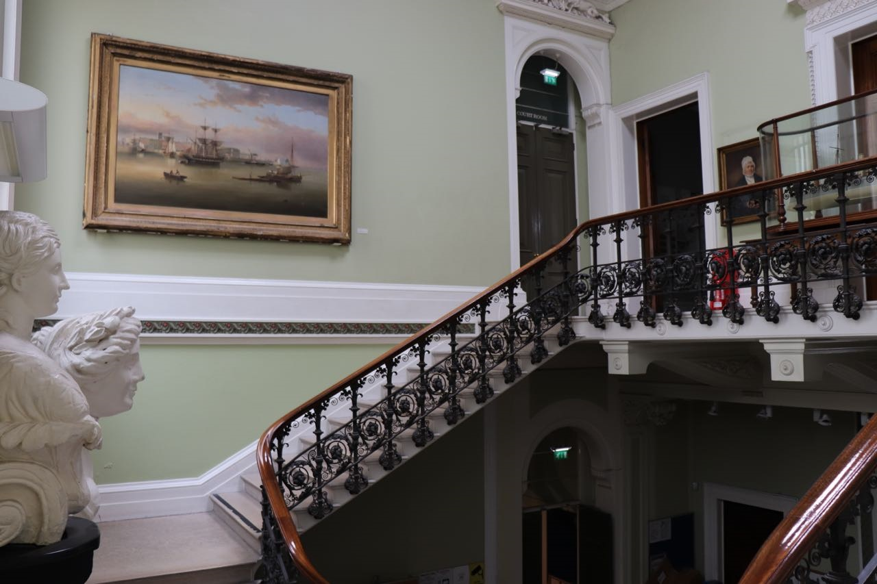The Calm on the Humber painting above the Maritime Museum's main staircase.