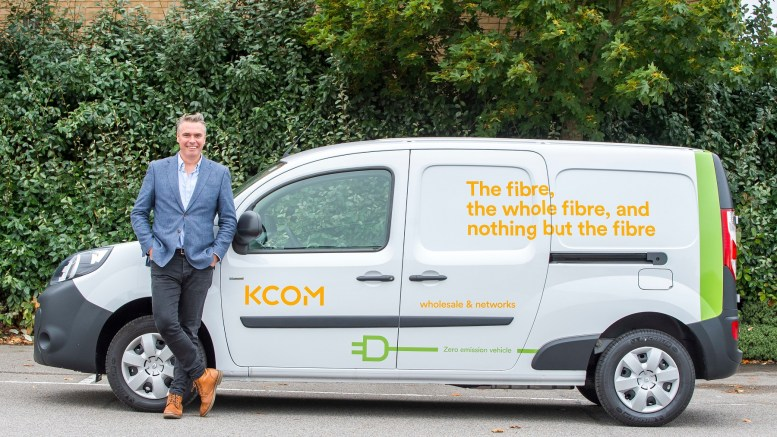 Tim Shaw, managing director of KCOM Wholesale & Networks, with a van from the new fleet.
