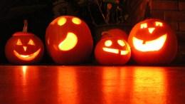 Pumpkins at night