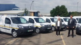 Councillor Rosie Nicola, Portfolio Holder for Environmental Services, and Councillor Daren Hale, Leader of Hull City Council, with some of the council's electric fleet.