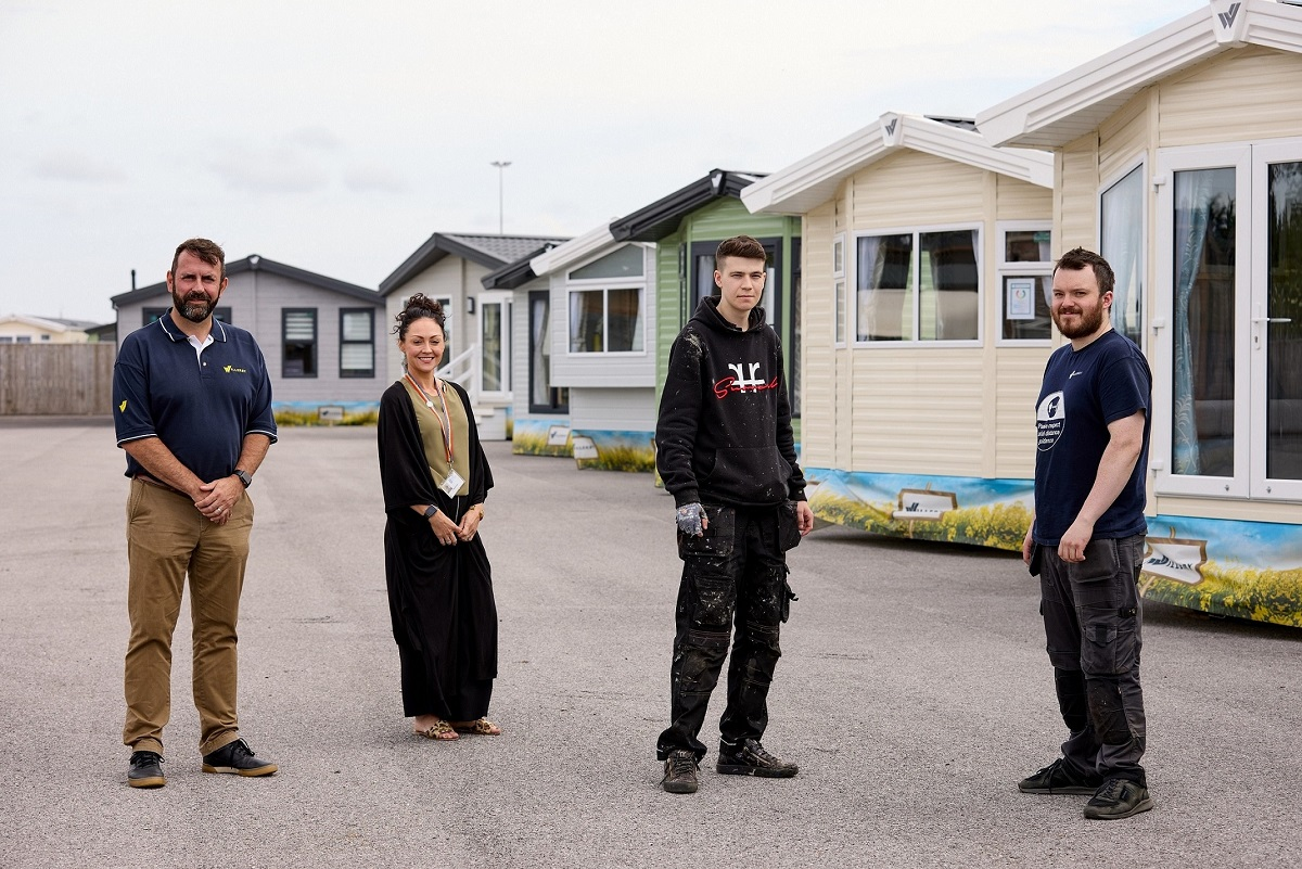 From left, Willerby Head of Manufacturing Aaron Cambridge, Jo Narborough, from the Springboard Youth Employment Initiative, and workers Liam Marshall and James Lewis.