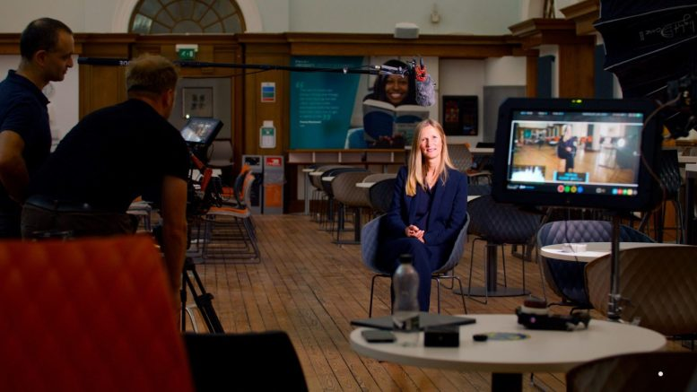 Professor Susan Lea, Vice Chancellor of the University of Hull, being interviewed for Eyes on the Humber