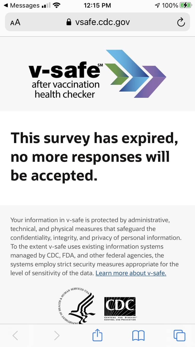 V-Safe Survey Link Expired