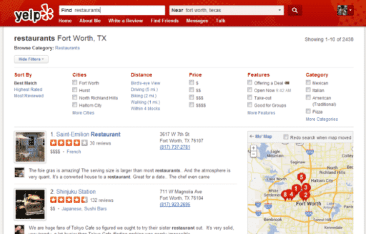 Yelp Restaurants by Hull Financial Planning