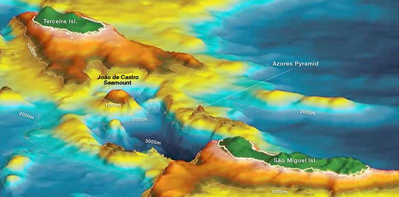 Fibonacci alignments of the Azores Pyramid and submerged city of Poseida Submerged3