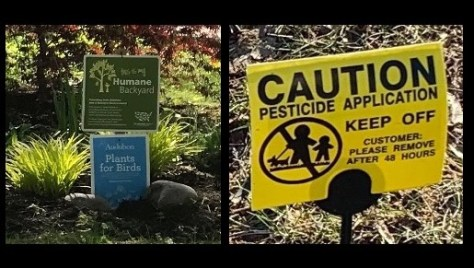 Image of habitat and pesticide signs