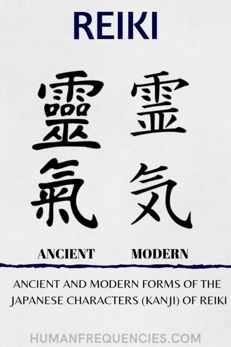 Ancient and Modern forms of the japanese characters in Kanji of Reiki