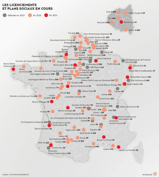 La carte des licenciements en France. © Infographie l'Humanité.