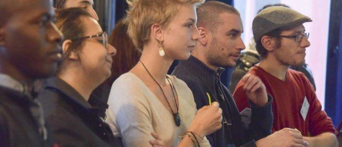 Les jeunes européens échangent sur la lutte contre les discriminations, lors du Festival des solidarités, en 2016. Photo Joel Lumien.