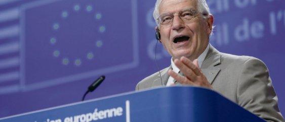 Pour le chef de la politique étrangère de l'UE, Josep Borrell, « toute annexion constituerait une grave violation du droit international ».  @ Olivier Hoslet / Piscine / AFP