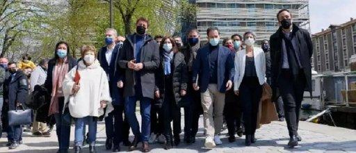 Les responsables de partis de gauche et écologistes réunis ce samedi 17 avril à Paris. © / AFP / Thomas SAMSON