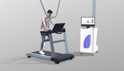 Sujet fait des exercice dans la chambre de calorimétrie (image de synthèse)