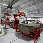 Tesla chassis being produced in the Tesla Factory