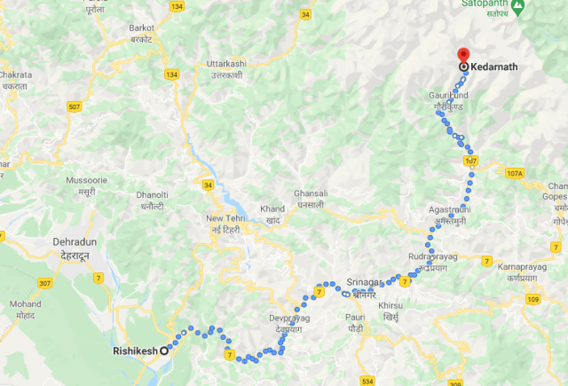 Kedarnath Mandir Map