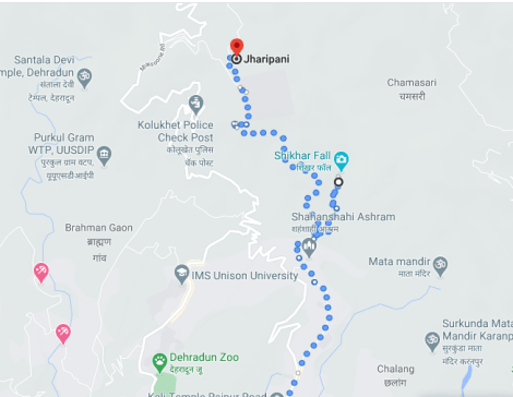 Dehradun To Jharipani Mussoorie Trek Map