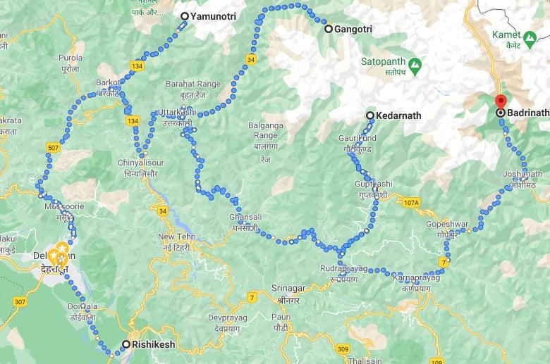 Char Dham Yatra tour map