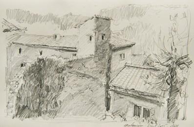 Vaucluse - Malaucène, vieille rue au pied du château.