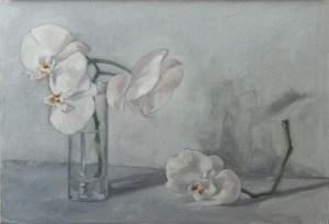Orchidées fatiguées (huile sur carton toilé 55x38 cm)