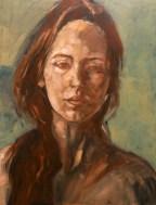 Portrait (huile sur carton noir 50x65 cm)