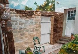 Morbihan. Le Hahon, réfection d'un mur chez Monique et Joseph.