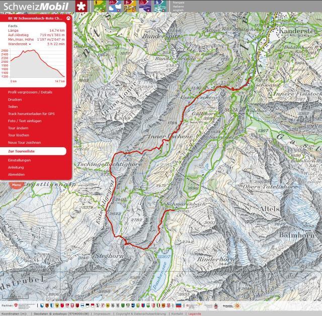 2. Etappe, Schwarenbach-Kandersteg mit Umweg