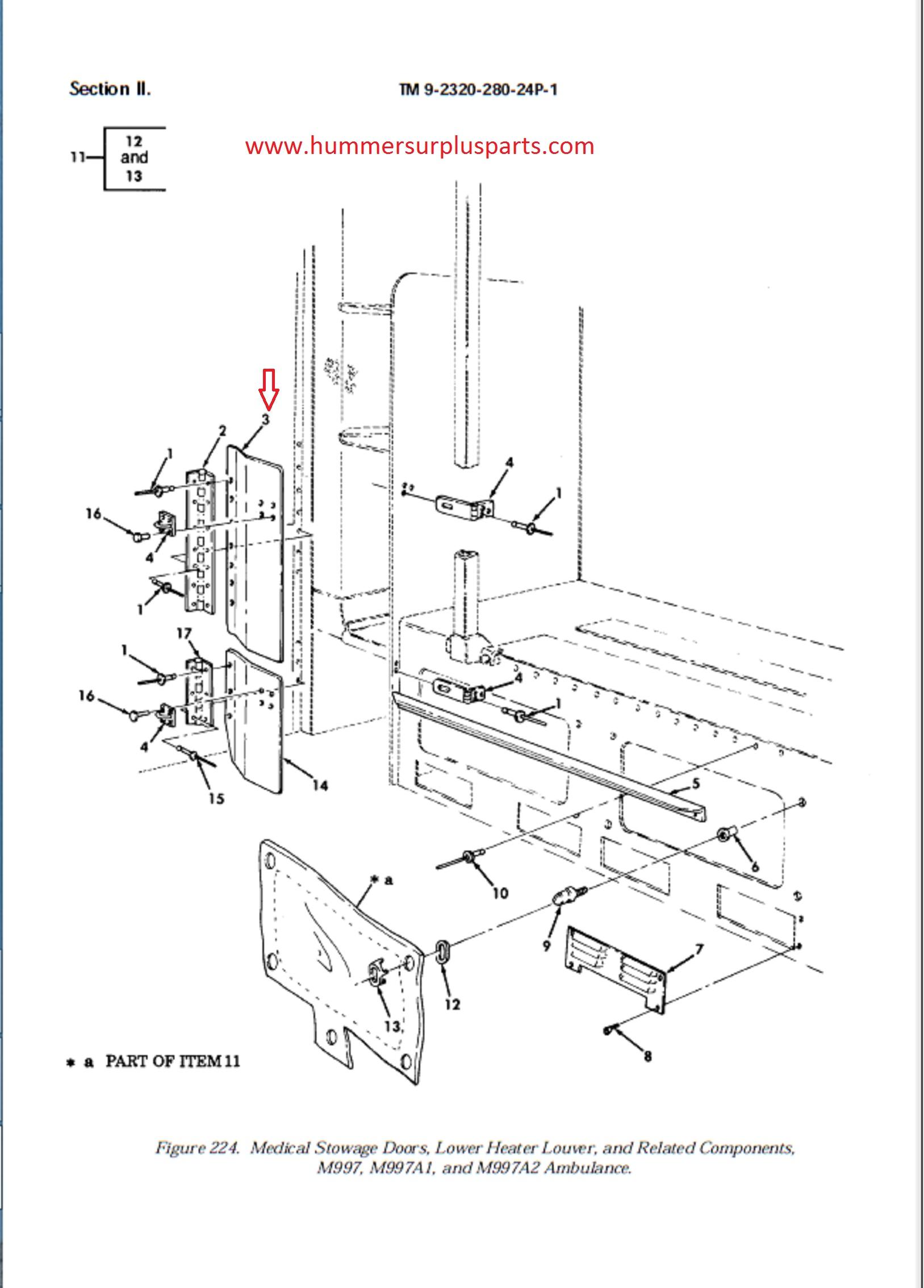 Hmmwv Insulation Diagram Diy Enthusiasts Wiring Diagrams Schematic Medical Stowage Door 12341120g1 12341120 5589900 2510 01 272 0536 Rh Hummersurplusparts Com Cargo Load Planning