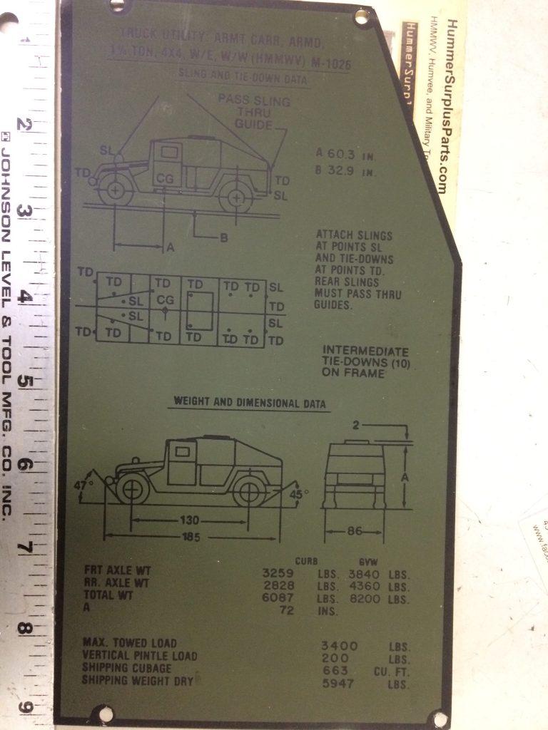M-1026 HMMWV Tie Down Identification Plate 12340318 5596310 9905-01-248-1113