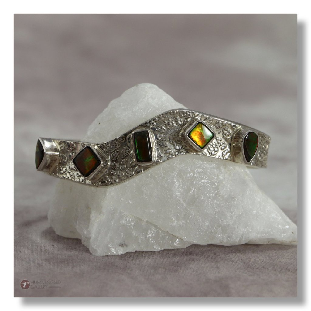 Hummingbird Gallery J0011-Ladies-Ammolite-Sterling-Silver-Cuff-Burnished-Finish-with-5-Ammolite-Stones-A Featured