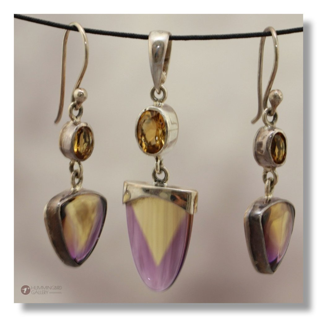 Ametrine Pendant & Earring Set Very Rare Unique Designer Cut with dropped Brilliant Cut Citrine
