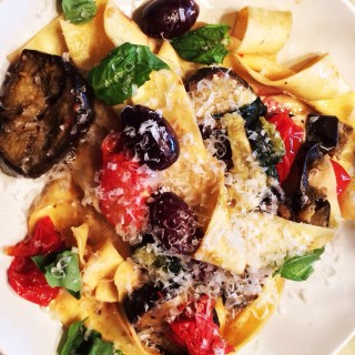 Pappardelle with Roasted Eggplant, Tomatoes, Zucchini and Kalamata Olives
