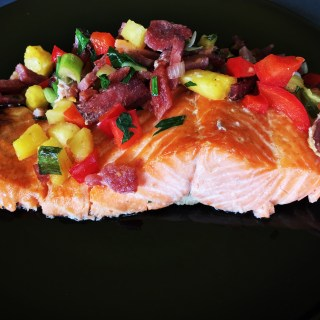 Salmon with Pineapple-Bacon Salsa