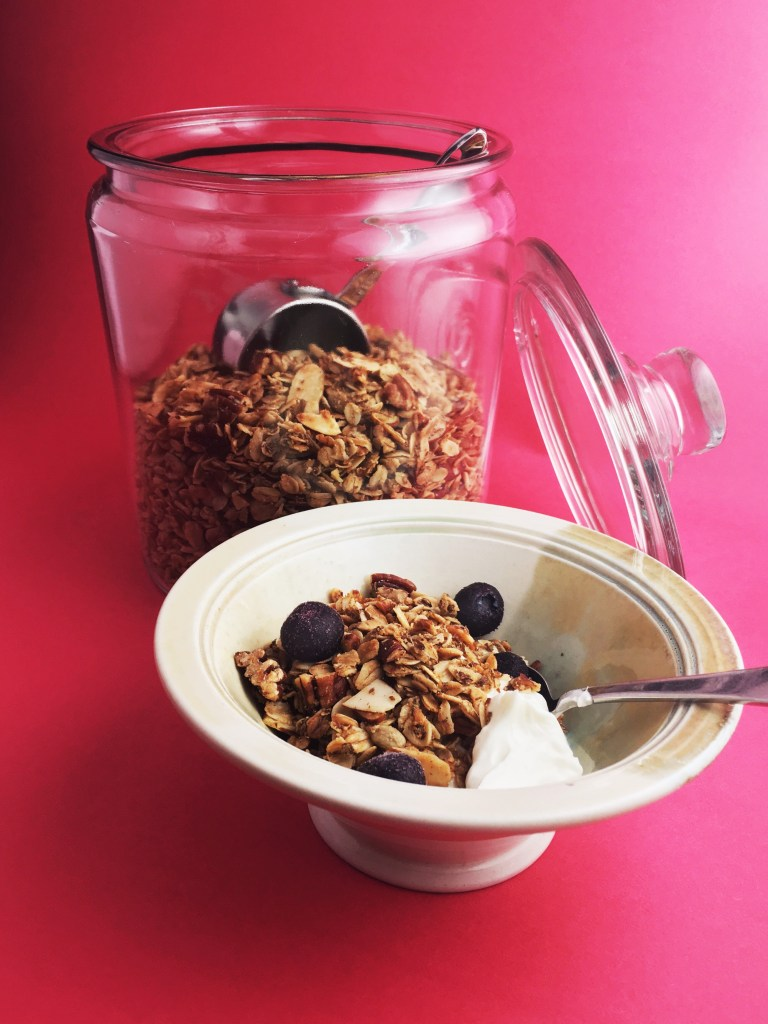 Homemade granola open jar