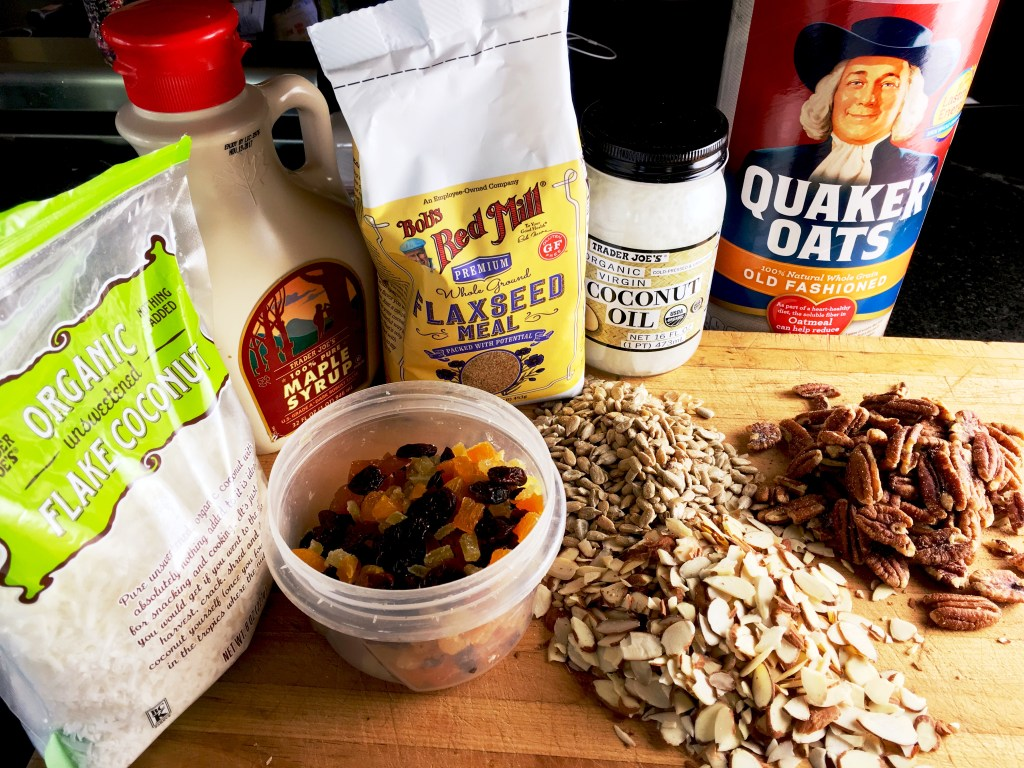 Homemade Granola ingredients