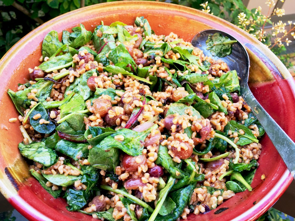 Martha Stewart's Farro/roasted grape/greens