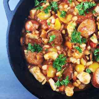 Spanish White Bean Chicken Sausage Skillet