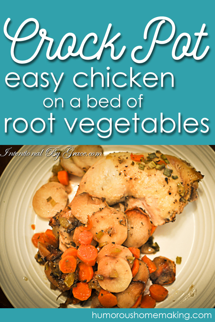 This Crockpot Easy Chicken on a Bed of Root Vegetables is so incredibly simple, yet it's full of all the goodness you would expect from a meal that's been slaved over all day.