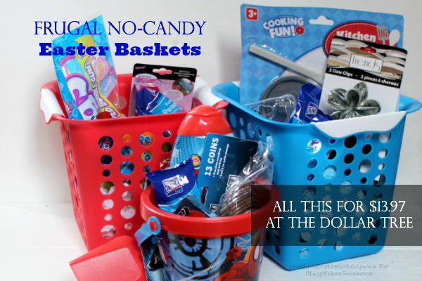 Smaller Frugal No Candy Easter Baskets