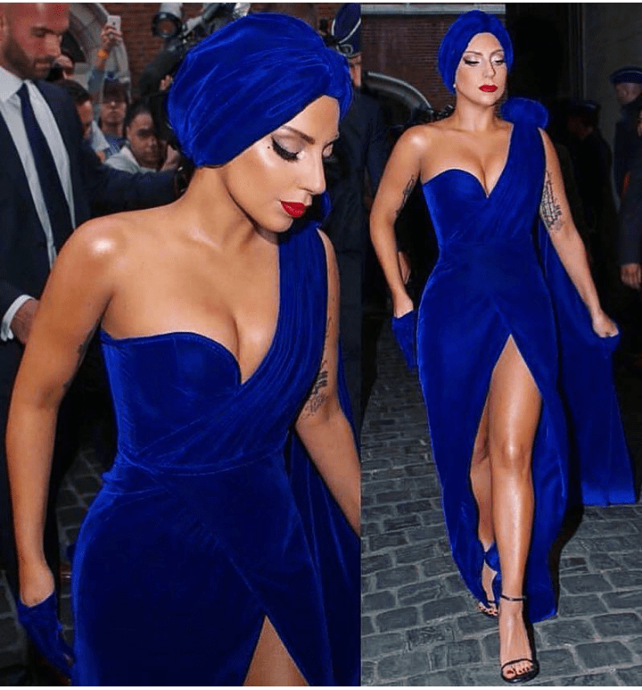 Lady Gaga stuns in blue velvet dress