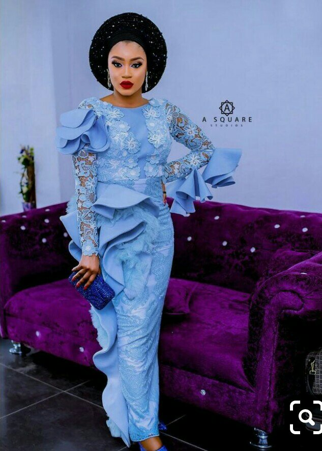 Light blue lace gown