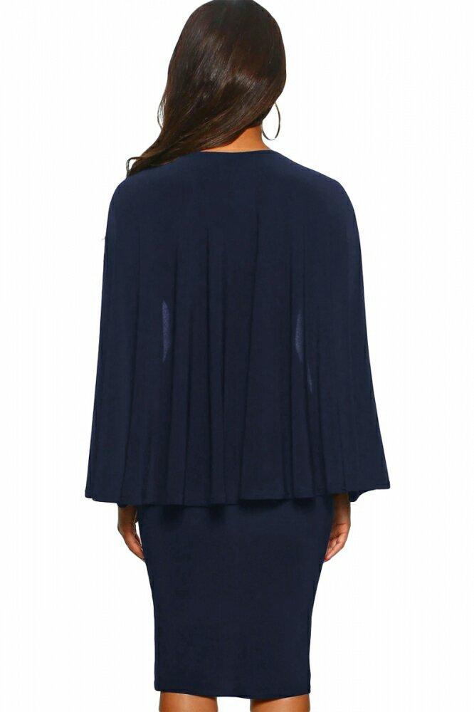 Blue Manhattan Moment Cape Wrap Front Midi Dress