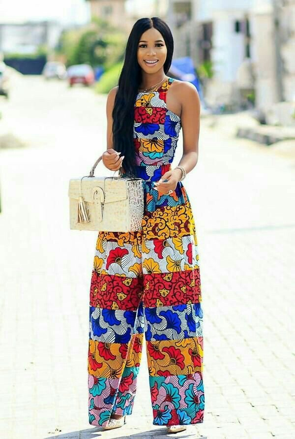 jumpsuit styles with fan print ankara
