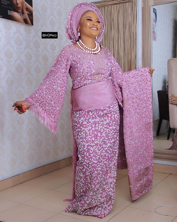 Pink beaded aso Oke styles