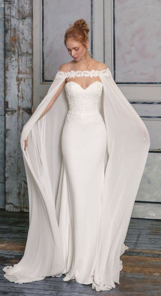 White wedding dress with cape