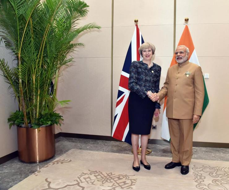 British Prime Minister Theresa May and her Indian counterpart Narendra Modi