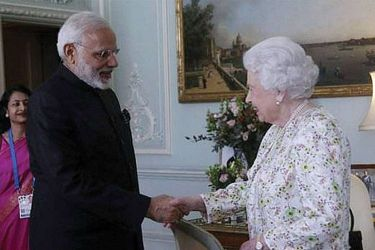 PM Modi with the Queen at Buckingham Palace.