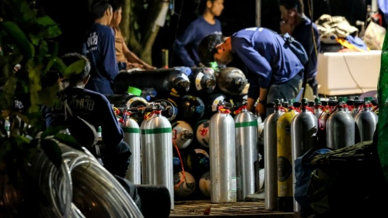 Oxygen tanks pictured outside the site