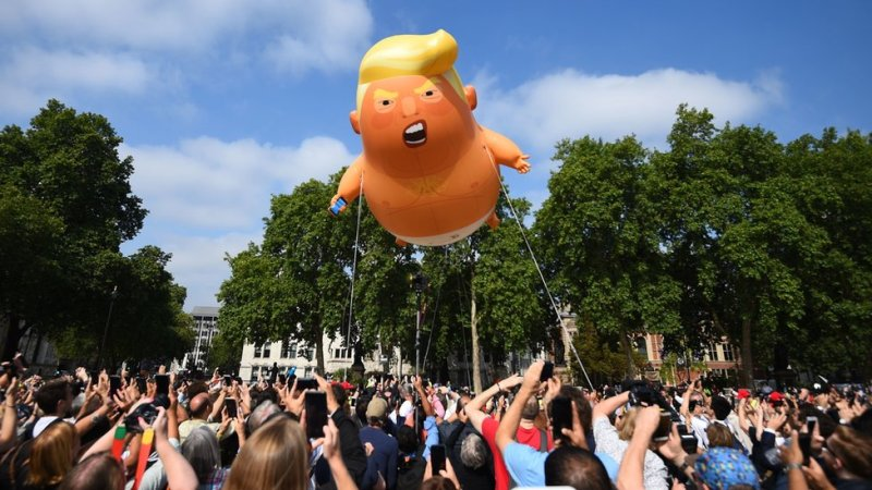 The Trump blimp in Parliament Square