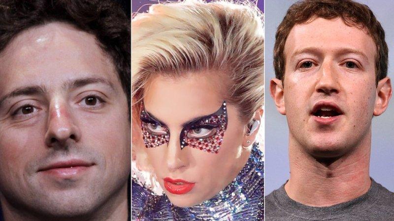 Google's Sergey Brin, Lady Gaga and Facebook's Mark Zuckerberg